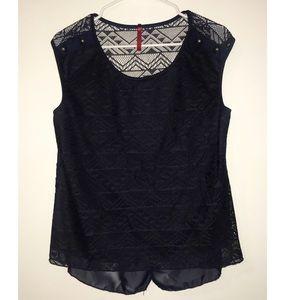 Tops - 🌸4/$20🌸 Navy Crochet Blouse